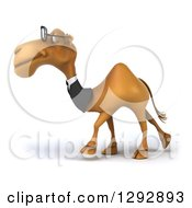 Clipart Of A 3d Bespectacled Business Camel Walking To The Left Royalty Free Illustration