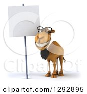 Clipart Of A 3d Happy Bespectacled Business Camel Smiling By A Blank Sign Royalty Free Illustration
