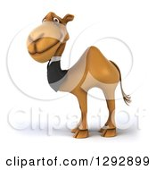 Clipart Of A 3d Happy Business Camel Smiling And Facing Left Royalty Free Illustration