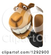 Clipart Of A 3d Happy Business Camel Smiling Around A Sign Royalty Free Illustration