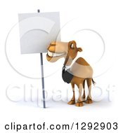 Clipart Of A 3d Happy Business Camel Smiling Up At A Blank Sign Royalty Free Illustration