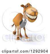 Clipart Of A 3d Happy Business Camel Smiling And Walking Slightly Right Royalty Free Illustration