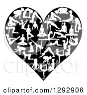 Clipart Of A Heart Made Of White Silhouetted Yoga And Pilates People On Black Royalty Free Vector Illustration