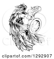 Clipart Of A Black And White Muscular Male Guardian Angel Running With A Shield And Sword Royalty Free Vector Illustration