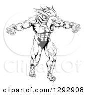 Clipart Of A Black And White Muscular Angry Lion Man Roaring With Claws Bared Royalty Free Vector Illustration