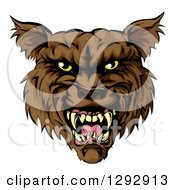 Clipart Of A Snarling Vicious Brown Wolf Mascot Head Royalty Free Vector Illustration