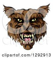 Snarling Vicious Brown Wolf Mascot Head