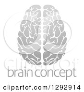 Clipart Of A Gradient Grayscale Human Brain With Text Royalty Free Vector Illustration