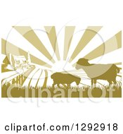 Clipart Of A Sunrise Over A Brown Silhouetted Farm House With Two Sheep And Fields Royalty Free Vector Illustration
