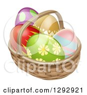 Clipart Of 3d Colorful Patterned Easter Eggs In A Basket Royalty Free Vector Illustration by AtStockIllustration