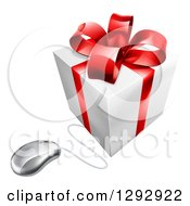 Clipart Of A 3d White And Red Gift Box Wired To A Computer Mouse Royalty Free Vector Illustration
