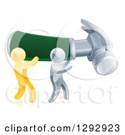 Poster, Art Print Of 3d Gold And Silver Men Carrying A Giant Hammer
