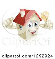Clipart Of A Happy House Character Holding A Thumb Up And A Gold Key Royalty Free Vector Illustration