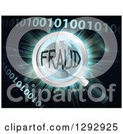 Clipart Of A Magnifying Glass Focused On FRAUD Over Earth A Burst And Binary Code Royalty Free Vector Illustration