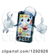 Clipart Of A 3d Happy Smart Phone Character Wearing A Baseball Cap Holding A Thumb Up And A Wrench Royalty Free Vector Illustration