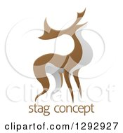 Clipart Of An Alert Stag Deer Buck Over Sample Text Royalty Free Vector Illustration by AtStockIllustration