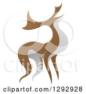 Clipart Of An Alert Stag Deer Buck Royalty Free Vector Illustration by AtStockIllustration