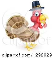 Clipart Of A Cute Thanksgiving Turkey Bird Wearing A Pilgrim Hat Royalty Free Vector Illustration