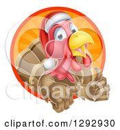 Clipart Of A Cute Turkey Bird Wearing A Santa Hat And Giving A Thumb Up While Emerging From A Circle Of Sunshine Royalty Free Vector Illustration by AtStockIllustration