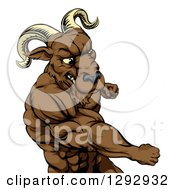 Clipart Of A Muscular Tough Angry Ram Man Punching Royalty Free Vector Illustration