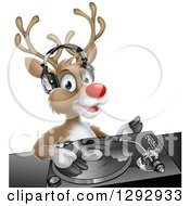 Clipart Of A Happy Christmas Rudolph Reindeer Dj Wearing Headphones Over A Turntable Royalty Free Vector Illustration