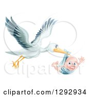 Clipart Of A Flying Stork Bird Holding A Happy Baby Boy In A Blue Bundle Royalty Free Vector Illustration by AtStockIllustration
