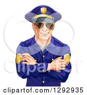 Happy Caucasian Male Police Officer With Folded Arms Wearing Sunglasses And Smiling