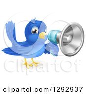 Clipart Of A Blue Bird Announcing With A Bullhorn Megaphone Royalty Free Vector Illustration by AtStockIllustration