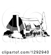 Clipart Of A Country Cottage House In Black And White Royalty Free Vector Illustration by AtStockIllustration