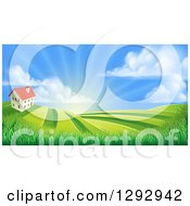 Clipart Of A Farmhouse Atop A Hill With Fields At Sunrise Royalty Free Vector Illustration