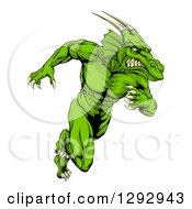 Clipart Of A Muscular Aggressive Green Dragon Man Mascot Sprinting Upright Royalty Free Vector Illustration