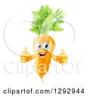Clipart Of A Happy Carrot Vegetable Character Giving Two Thumbs Up Royalty Free Vector Illustration