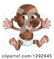 Clipart Of A Happy Black Baby Boy In A Diaper Holding His Arms Up Royalty Free Vector Illustration