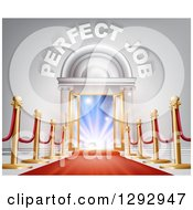 Clipart Of A Venue Entrance With Perfect Job Text Posts And Red Carpet Leading To A Sunrise Royalty Free Vector Illustration by AtStockIllustration