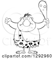 Clipart Of A Cartoon Black And White Mad Chubby Male Caveman Holding Up A Fist And A Club Royalty Free Vector Illustration