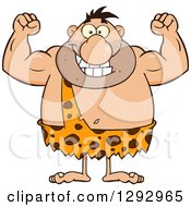 Clipart Of A Cartoon Happy Chubby Male Caveman Flexing His Muscles Royalty Free Vector Illustration