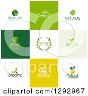 Clipart Of Flat Design Natural And Organic Business Logo Icons With Text On Colorful Tiles 3 Royalty Free Vector Illustration by elena
