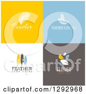 Clipart Of Flat Design Feather Logo Icons With Sample Text On Colorful Tiles Royalty Free Vector Illustration by elena