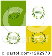 Clipart Of Flat Design Natural Product Wreath Designs On Green White And Yellow Tiles Royalty Free Vector Illustration by elena