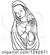 Clipart Of A Black And White Praying Virgin Mary 4 Royalty Free Vector Illustration