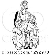 Clipart Of A Black And White Virgin Mary With An Angel Or Baby Jesus Royalty Free Vector Illustration