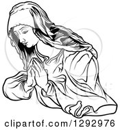 Clipart Of A Black And White Praying Virgin Mary Royalty Free Vector Illustration