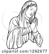 Clipart Of A Black And White Praying Virgin Mary Facing Right Royalty Free Vector Illustration