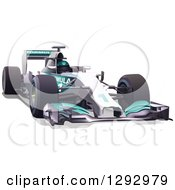 Clipart Of A White And Turquoise Race Car And Driver Royalty Free Vector Illustration