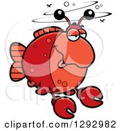 Clipart Of A Cartoon Drunk Imitation Crab Fish Royalty Free Vector Illustration by Cory Thoman
