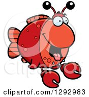 Clipart Of A Cartoon Hungry Imitation Crab Fish Royalty Free Vector Illustration by Cory Thoman