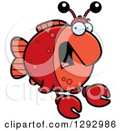 Clipart Of A Cartoon Scared Screaming Imitation Crab Fish Royalty Free Vector Illustration by Cory Thoman