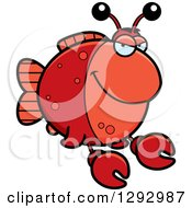 Clipart Of A Cartoon Sly Imitation Crab Fish Royalty Free Vector Illustration by Cory Thoman