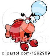 Clipart Of A Cartoon Happy Imitation Crab Fish Talking Royalty Free Vector Illustration by Cory Thoman