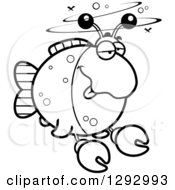 Lineart Clipart Of A Black And White Cartoon Drunk Imitation Crab Fish Royalty Free Outline Vector Illustration by Cory Thoman
